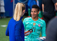 PARIS,  - JUNE 16: Sam Mewis #3 talks to Adrianna Franch #21 during a game between Chile and USWNT at Parc des Princes on June 16, 2019 in Paris, France.