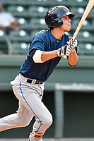 Shortstop Andres Gimenez (13) of the Columbia Fireflies bats in a game against the Greenville Drive on Wednesday, August 23, 2017, at Fluor Field at the West End in Greenville, South Carolina. Greenville won, 16-5. (Tom Priddy/Four Seam Images)