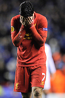 21.02.2013 Liverpool, England.Luis Suarez  of Liverpool after the final whistle in the Europa League game between Liverpool and Zenit St Petersburg from Anfield.