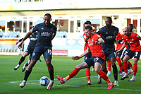 31st October 2020; Kenilworth Road, Luton, Bedfordshire, England; English Football League Championship Football, Luton Town versus Brentford; Rhys Norrington-Davies of Luton Town challenges Bryan Mbeumo of Brentford