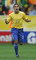 Brazilian midfielder (20) Ricardinho celebrates the third goal of the match for his team.  Brazil defeated Ghana, 3-0,  in their FIFA World Cup round of 16 match at FIFA World Cup Stadium in Dortmund, Germany, June 27, 2006.