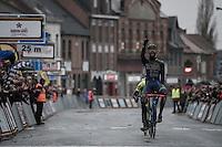 race winner Guillaume van Keirsbulck (BEL/Wanty-Groupe Gobert) crossing the finish line<br /> <br /> GP Le Samyn 2017 (1.1)