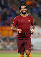 Calcio, Europa League: Roma vs Astra Giurgiu. Roma, stadio Olimpico, 29 settembre 2016.<br /> Roma's Mohamed Salah celebrates after Astra Giurgiu's Fabricio, not pictured, scored an own goal during the Europa League Group E soccer match between Roma and Astra Giurgiu at Rome's Olympic stadium, 29 September 2016. Roma won 4-0.<br /> UPDATE IMAGES PRESS/Riccardo De Luca
