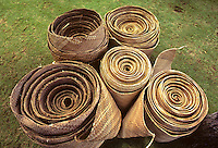 Rolls of woven hala pieces to make sails of Polynesian voyaging canoe, Hawai'iloa.