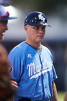 SCF Manatees coach Barry Batson (17) during a game against the College of Central Florida Patriots on February 8, 2017 at Robert C. Wynn Field in Bradenton, Florida.  SCF defeated Central Florida 6-5 in eleven innings.  (Mike Janes/Four Seam Images)