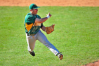 19 April 2009: University of Vermont Catamounts' infielder Dave Soltis, a Freshman from Plainville, CT, gets the out against the University at Albany Great Danes at Historic Centennial Field in Burlington, Vermont. The Great Danes defeated the Catamounts 9-4 in the second game of a double-header. Sadly, the Catamounts are playing their last season of baseball, as the program has been marked for elimination due to budgetary constraints on the University. Mandatory Photo Credit: Ed Wolfstein Photo
