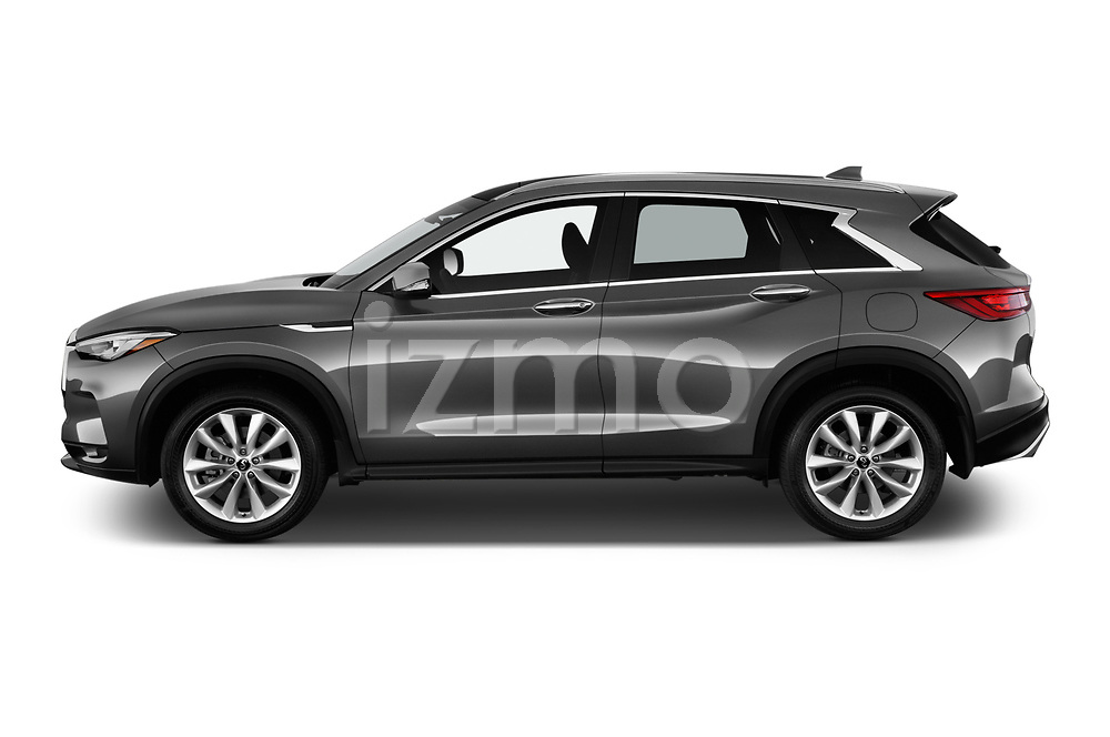 Car driver side profile view of a 2019 Infiniti QX50 LUXE AWD 5 Door SUV