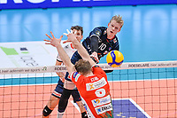 Belgian Mathijs Desmet of Roeselare  pictured during a Volleyball game between Knack Volley Roeselare and Greenyard Maaseik , the third game in a best of five in the play offs in the 2020-2021 season , saturday 10 th April 2020 at the Schiervelde international Sportshall in Roeselare  , Belgium  .  PHOTO SPORTPIX.BE   DAVID CATRY