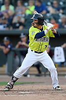 Left fielder Jay Jabs (7) of the Columbia Fireflies bats in a game against the Rome Braves on Sunday, August 20, 2017, at Spirit Communications Park in Columbia, South Carolina. Rome won, 11-6 in 16 innings. (Tom Priddy/Four Seam Images)
