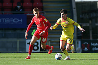 Hector Kyprianou of Leyton Orient and Rory Holden of Walsall during Leyton Orient vs Walsall, Sky Bet EFL League 2 Football at The Breyer Group Stadium on 5th April 2021