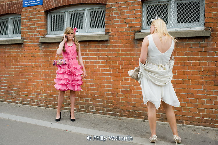 Two young women at Ascot racecourse on Ladies Day.