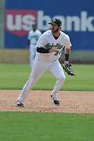 Clinton LumberKings first baseman Nick Zammarelli (34) in action during a game against the Lansing Lugnuts at Ashford University Field on May 9, 2017 in Clinton, Iowa.  The Lugnuts won 11-6.  (Dennis Hubbard/Four Seam Images)