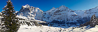 Alpine slopes in winter looking towards the wetterhorn mountain. Grindelwald, Swiss Alps