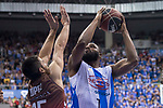 San Pablo Burgos Alex Lopez and Gipuzkoa Basket Danny Agbelese during Liga Endesa match between San Pablo Burgos and Gipuzkoa Basket at Coliseum Burgos in Burgos, Spain. December 30, 2017. (ALTERPHOTOS/Borja B.Hojas)