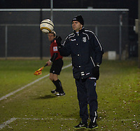 20131213 - VARSENARE , BELGIUM : Zwolle's coach Sebastiaan Borgardijn pictured during the female soccer match between Club Brugge Vrouwen and PEC Zwolle Ladies , of  matchday 14  in the BENELEAGUE competition. Friday 13th December 2013. PHOTO DAVID CATRY