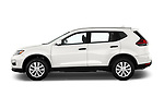Car Driver side profile view of a 2018 Nissan Rogue S 5 Door SUV Side View