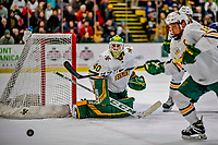 9 February 2019: University of Vermont Catamount Goaltender Stefanos Lekkas, a Junior from Elburn, IL, in first period action against the University of New Hampshire Wildcats at Gutterson Fieldhouse in Burlington, Vermont. The Catamounts defeated the Wildcats 4-1 to split their 2-game Hockey East weekend series. Mandatory Credit: Ed Wolfstein Photo *** RAW (NEF) Image File Available ***