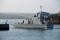 HMS Express (P163), an Archer-class P2000-type patrol  and training vessel of the British Royal Navy at Padstow, Cornwall.