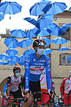 New race leader Maglia Azzurra Tadej Pogacar (SLO) UAE Team Emirates arrives at sign on before the start of Stage 5 of Tirreno-Adriatico Eolo 2021, running 205km from Castellalto to Castelfidardo, Italy. 14th March 2021. <br /> Photo: LaPresse/Gian Mattia D'Alberto   Cyclefile<br /> <br /> All photos usage must carry mandatory copyright credit (© Cyclefile   LaPresse/Gian Mattia D'Alberto)