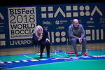 Everton Chief Executive Professor Denise Barrett-Baxendale takes on Liverpool Chief Executive Peter Moore.<br /> BISFed 2018 World Boccia Championships <br /> Exhibition Centre Liverpool<br /> 15.08.18<br /> ©Steve Pope<br /> Sportingwales