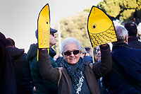Rome December 14th 2019. Gathering of the movement od the sardine (sardines), born to protest against Salvini's Lega party that have filled St Giovanni Square<br /> Foto Samantha Zucchi Insidefoto