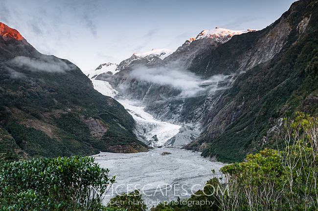 Franz Josef Glacier as seen from Sentinel Rock Lookout, Westland Tai Poutini National Park, UNESCO World Heritage Area, West Coast, New Zealand, NZ