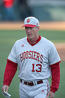 Indiana Hoosiers Head Coach Tracy Smith #13 during a game against against the Long Beach State Dirtbags at Blair Field on March 14, 2014 in Long Beach, California. Long Beach State defeated Indiana 4-3. (Larry Goren/Four Seam Images)