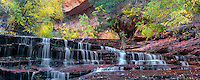 Archangel falls and fall color. Left Fork of North Creek. Zion National Park, Utah.
