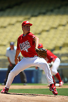August 9 2008: Zack Wheeler participates in the Aflac All American baseball game for incoming high school seniors at Dodger Stadium in Los Angeles,CA.  Photo by Larry Goren/Four Seam Images