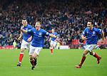 Fraser Aird celebrates his last gasp winning goal for Rangers