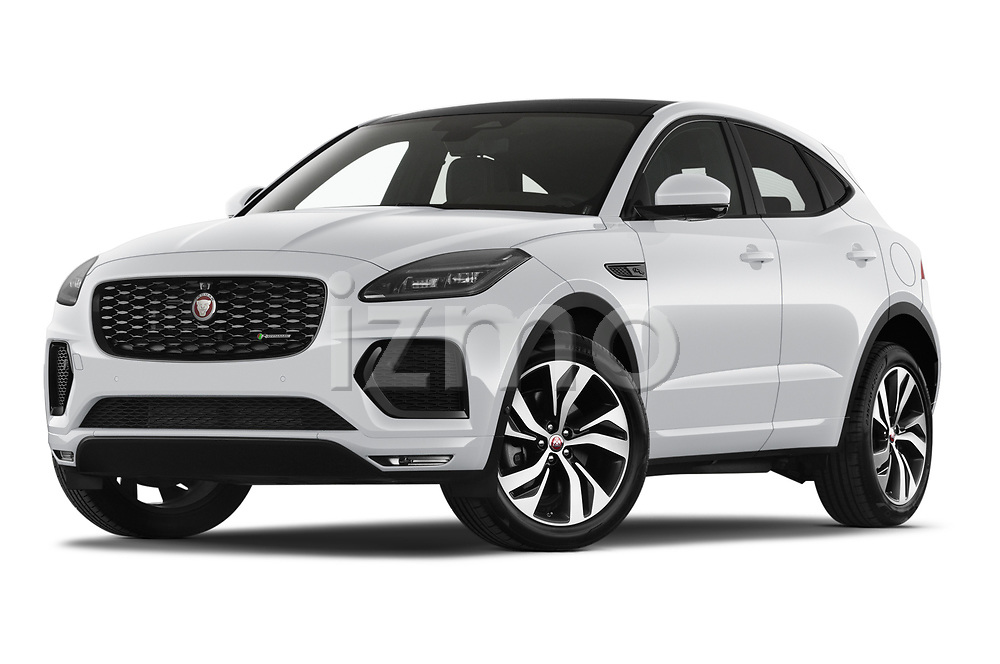 Stock pictures of low aggressive front three quarter view of 2021 Jaguar E-Pace R-Dynamic-HSE 5 Door SUV Low Aggressive