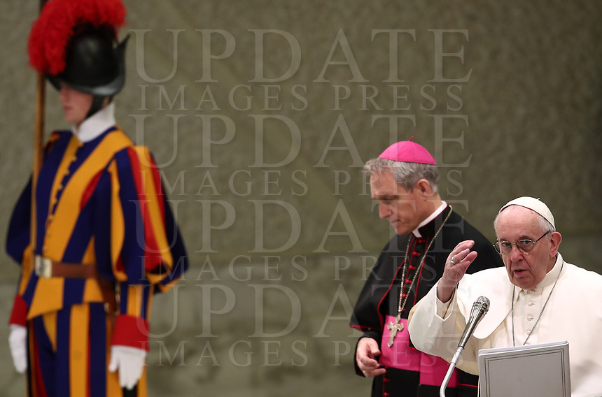 Papa Francesco tiene l'udienza Generale del mercoledi' in aula Paolo VI in Vaticano, 9 gennaio 2019.<br /> Pope Francis leads his weekly general audience in Paul VI Hall at the Vatican, on January, 2019.<br /> UPDATE IMAGES PRESS/Isabella Bonotto<br /> <br /> STRICTLY ONLY FOR EDITORIAL USE