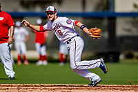 21 February 2019: Washington Nationals infielder Carter Kieboom takes infield drills during a Spring Training workout at the Ballpark of the Palm Beaches in West Palm Beach, Florida. Mandatory Credit: Ed Wolfstein Photo *** RAW (NEF) Image File Available ***