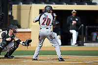 Jake Snider (20) of the Louisville Cardinals at bat against the Wake Forest Demon Deacons at David F. Couch Ballpark on March 18, 2018 in  Winston-Salem, North Carolina.  The Demon Deacons defeated the Cardinals 6-3.  (Brian Westerholt/Four Seam Images)