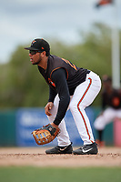 GCL Orioles first baseman Josue Herrera (24) during a Gulf Coast League game against the GCL Braves on August 5, 2019 at Ed Smith Stadium in Sarasota, Florida.  GCL Orioles defeated the GCL Braves 4-3 in the second game of a doubleheader.  (Mike Janes/Four Seam Images)