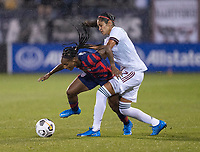 EAST HARTFORD, CT - JULY 1: Crystal Dunn #2 of the USWNT fights for the ball with Bianca Sierra #2 of Mexico during a game between Mexico and USWNT at Rentschler Field on July 1, 2021 in East Hartford, Connecticut.