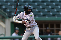 Kane County Cougars Geraldo Perdomo (4) at bat during a Midwest League game against the Fort Wayne TinCaps at Parkview Field on April 30, 2019 in Fort Wayne, Indiana. Kane County defeated Fort Wayne 7-4. (Zachary Lucy/Four Seam Images)