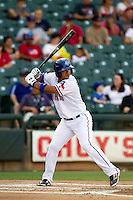 Round Rock Express shortstop Alberto Gonzalez #21 at bat during the Pacific Coast League baseball game against the Nashville Sounds on August 26th, 2012 at the Dell Diamond in Round Rock, Texas. The Sounds defeated the Express 11-5. (Andrew Woolley/Four Seam Images).
