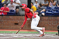 Johnson City Cardinals Todd Lott (29) runs to first base during game two of the Appalachian League, West Division Playoffs against the Bristol Pirates at TVA Credit Union Ballpark on August 31, 2019 in Johnson City, Tennessee. The Cardinals defeated the Pirates 7-4 to even the series at 1-1. (Tony Farlow/Four Seam Images)