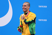 26th August 2021; Tokyo, Japan; de FARIA DIAS Daniel (BRA),  Swimming : <br /> Men's 100m Freestyle S5 Medal Ceremony <br /> during the Tokyo 2020 Paralympic Games at the Tokyo Aquatics Centre in Tokyo, Japan.