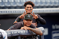 Jupiter Hammerheads pitcher Humberto Mejia (front) and Jhonny Santos (back) during a Florida State League game against the Tampa Tarpons on July 26, 2019 at George M. Steinbrenner Field in Tampa, Florida.  Tampa defeated Jupiter 2-0 in the first game of a doubleheader.  (Mike Janes/Four Seam Images)