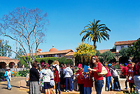 Mission San Juan Capistrano, San Juan Capistrano, California, USA - School Children on a Visit - Historic Landmark founded 1776