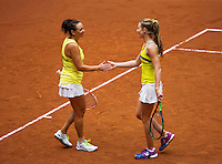 Netherlands, Den Bosch, April 18 2015 Maaspoort, Fedcup Netherlands-Australia,  Doubles: Jarmila Gajdosova and Olivia Rogowska (AUS)   <br /> Photo: Tennisimages/Henk Koster