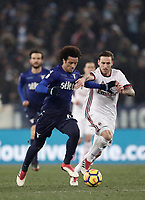 Football Soccer: Tim Cup semi-final second Leg, SS Lazio vs AC Milan, Stadio Olimpico, Rome, Italy, February 28, 2018.<br /> Lazio's Felipe Anderson (l) in action with Milan's Lucas Biglia (r) during the Tim Cup semi-final football match between SS Lazio vs AC Milan, at Rome's Olympic stadium, February 28, 2018.<br /> <br /> UPDATE IMAGES PRESS/Isabella Bonotto