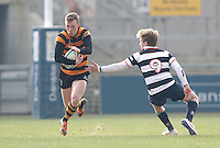 2015 ULSTER SCHOOLS CUP FINAL | Tuesday 17th March 2015<br /> <br /> Ethan Harbinson gets past Jonny Stewart during the 2015 Ulster Schools Cup Final between RBAI and Wallace High School at the Kingspan Stadium, Ravenhill Park, Belfast, Count Down, Northern Ireland.<br /> <br /> Picture credit: John Dickson / DICKSONDIGITAL