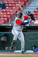 Gwinnett Braves outfielder Christian Marrero #33 at bat during a game against the Buffalo Bisons at Coca-Cola Field on May 17, 2012 in Buffalo, New York.  Buffalo defeated Gwinnett 4-2.  (Mike Janes/Four Seam Images)
