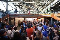 SAN JOSE, CA - JUNE 26: Fans watch the San Jose Earthquakes before a game between Los Angeles Galaxy and San Jose Earthquakes at PayPal Park on June 26, 2021 in San Jose, California.