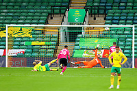 3rd October 2020; Carrow Road, Norwich, Norfolk, England, English Football League Championship Football, Norwich versus Derby; Teemu Pukki of Norwich City takes a penalty but his shot goes over the bar