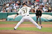 Salt Lake Bees starting pitcher Wade LeBlanc (37) delivers a pitch to the plate against the Reno Aces at Smith's Ballpark on May 5, 2014 in Salt Lake City, Utah.  (Stephen Smith/Four Seam Images)