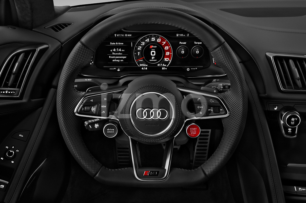 Car pictures of steering wheel view of a 2017 Audi R8 quattro 2 Door Coupe